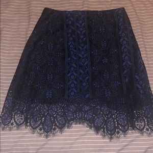 For Love and lemons blue and black lace skirt!